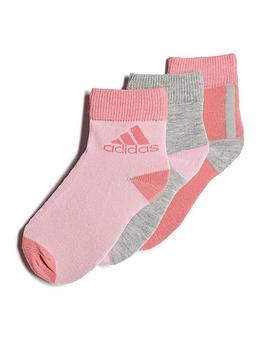adidas-unisex-junior-3-pack-ankle-socks-pinkgrey