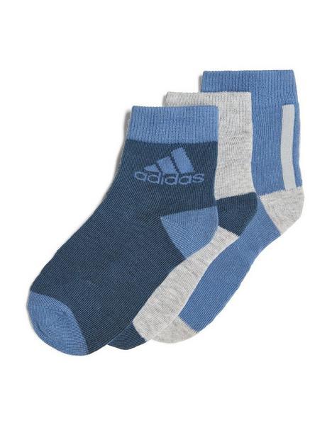 adidas-unisex-junior-3-pack-ankle-socks-bluegrey