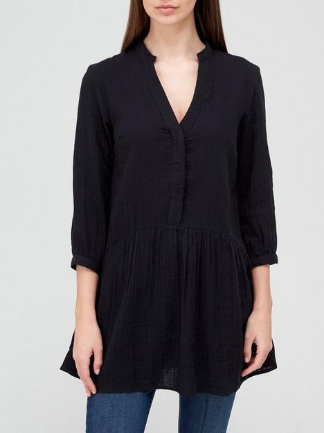 v-by-very-cotton-34-sleeve-longline-blouse-blacknbsp