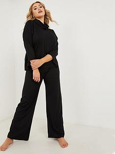 quiz-curve-black-rib-palazzo-trouser