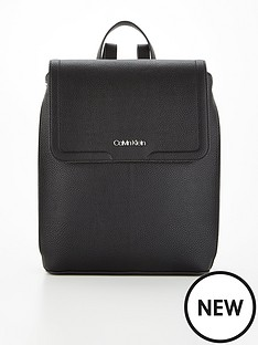 calvin-klein-pu-flap-backpack-black