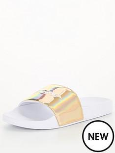 tommy-hilfiger-femininenbsppool-slide-metallic