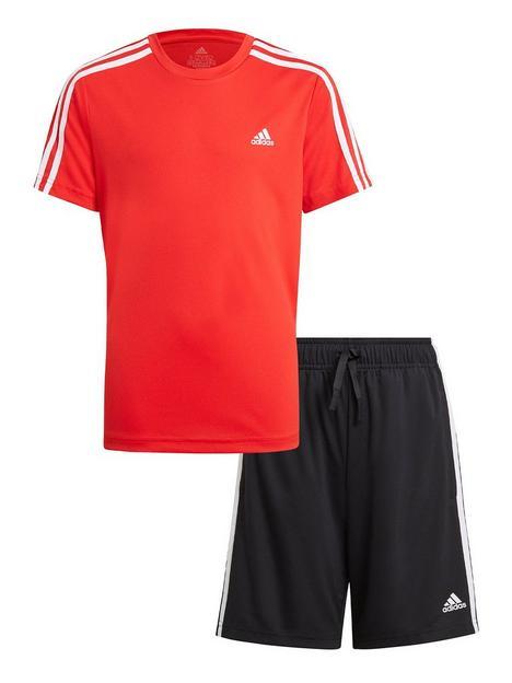 adidas-boys-juniornbsp3-stripes-t-shirt-amp-shortsnbspset-redblack