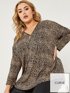 quiz-curve-quiz-curve-brown-light-knit-animal-print-zip-front-long-sleeve-top