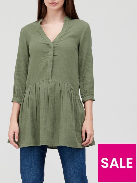 v-by-very-cotton-three-quarternbspsleeve-longline-blouse-khaki