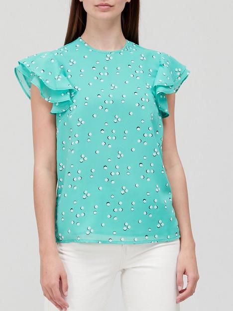 v-by-very-printed-frill-sleeve-shellnbsptop-green-print