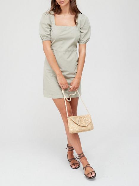 v-by-very-puff-sleeve-twill-dress-sagenbsp