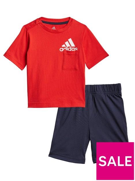 adidas-unisex-infantnbspbadge-of-sport-summer-set-redblack