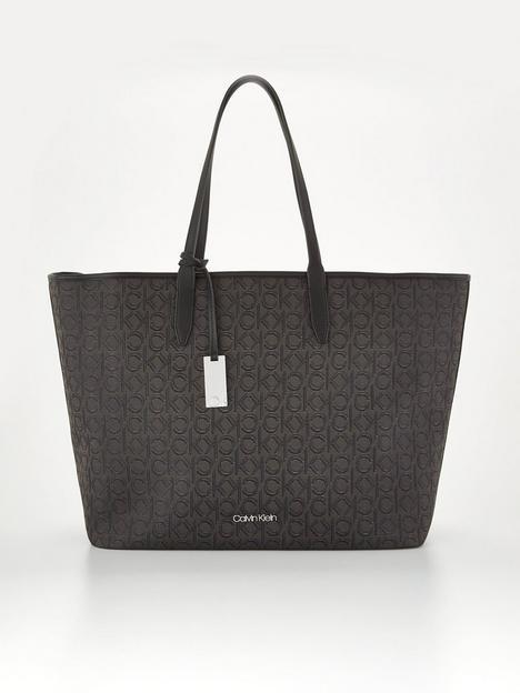 calvin-klein-mono-print-shopper-with-laptop-pouch-brown