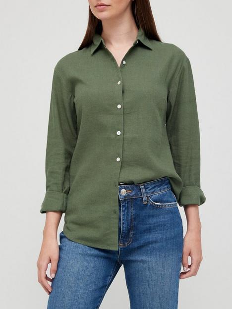 v-by-very-classic-linen-blend-long-sleeve-shirt-khaki