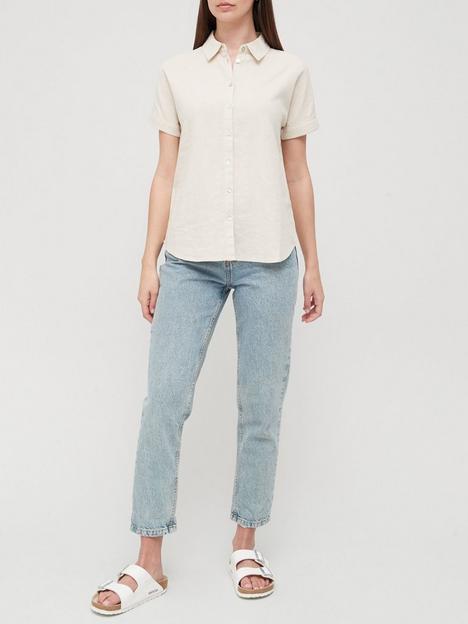 v-by-very-classic-linen-blend-short-sleeve-shirt-neutral