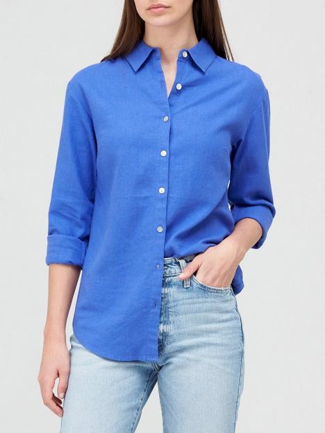 v-by-very-classic-linen-blend-long-sleevenbspshirt-bluenbsp