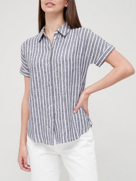 v-by-very-classic-linen-blend-short-sleeve-shirt-blue-stripe