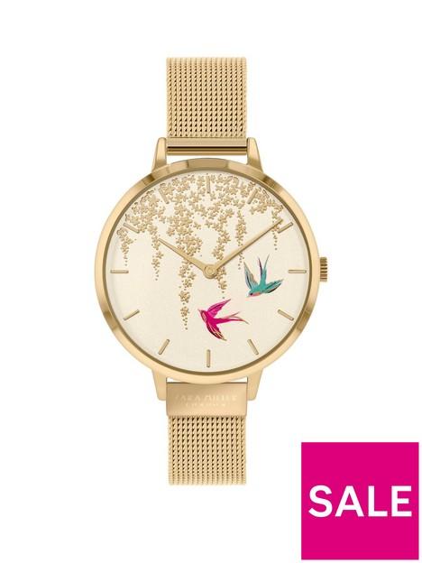 sara-miller-sara-miller-white-and-gold-detail-swallow-dial-gold-stainless-steel-mesh-strap-ladies-watch