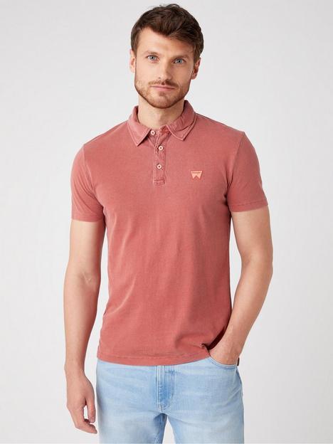 wrangler-short-sleeved-polo-shirt-red