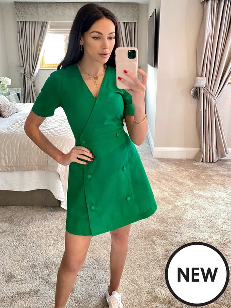 michelle-keegan-double-button-linen-look-mini-dress-green