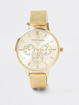 river-island-mesh-strap-branded-watch-gold