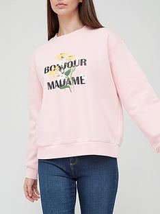 v-by-very-front-print-bonjour-madamme-crew-neck-sweat-blush
