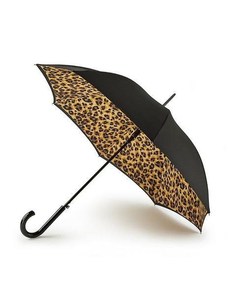 fulton-bloomsbury-leopard-umbrella-black