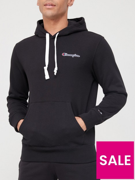 champion-small-logo-overhead-hoodie-black