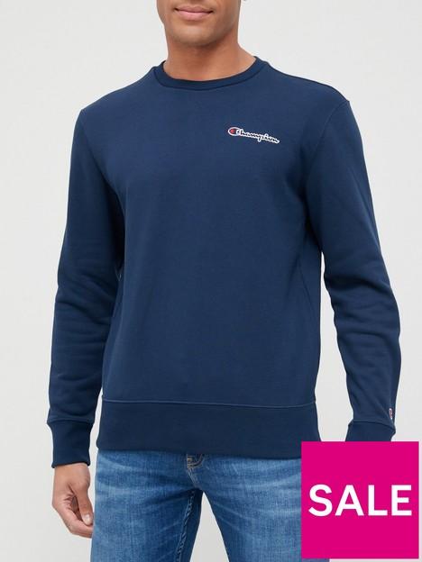 champion-small-logo-crew-neck-sweatshirt-navy