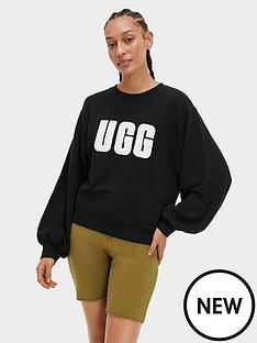 ugg-fuzzy-logo-brook-crewneck-jumper-black