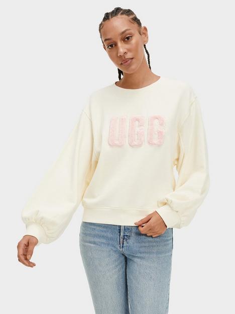 ugg-fuzzy-logo-brook-crewneck-jumper-cream