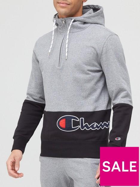 champion-colour-block-half-zip-hooded-sweatshirt-greyblack