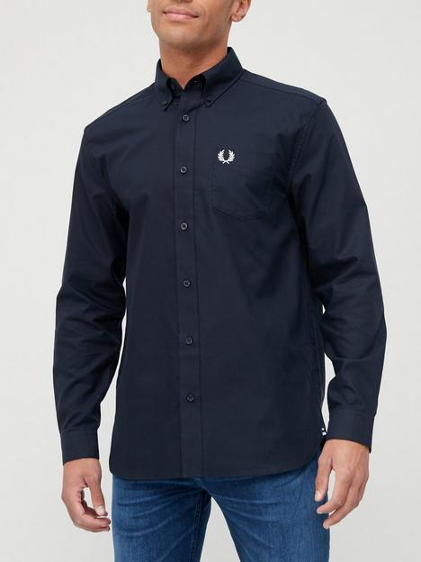 fred-perry-long-sleeve-oxford-shirt-navy