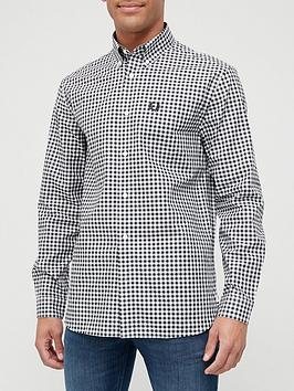 fred-perry-long-sleeve-gingham-shirt-blackwhitenbsp