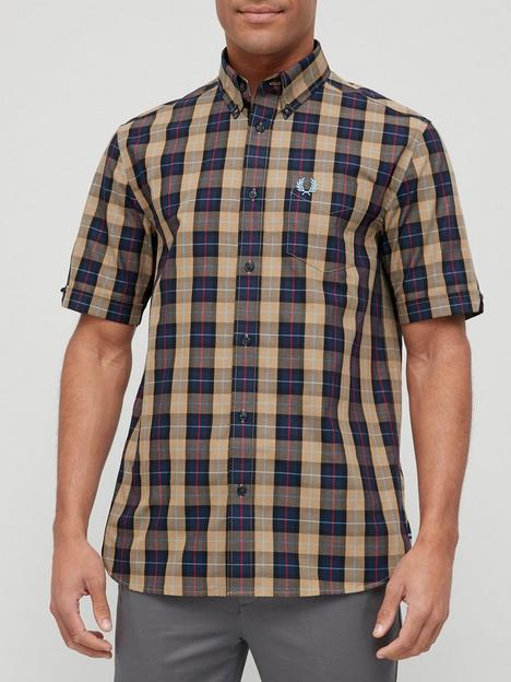 fred-perry-short-sleeve-gingham-shirt-navy