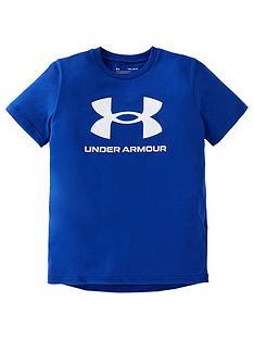 under-armour-boys-sportstyle-logo-short-sleeve-t-shirt-blue