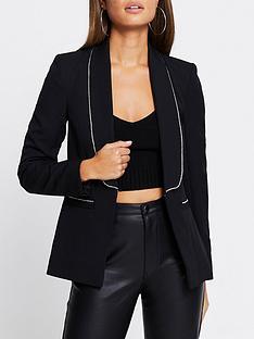 river-island-diamante-trim-shawl-collar-blazer-black