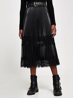 river-island-lace-mix-pleated-pu-midi-skirt-black