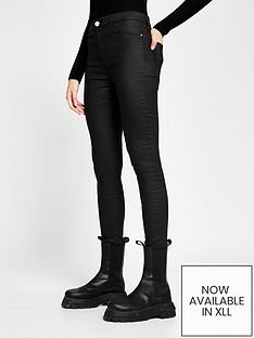 river-island-tall-mid-rise-coated-molly-jegging-black