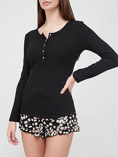 hunkemoller-long-sleeve-waffle-pyjamanbsptop-black