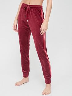 hunkemoller-velour-stripe-pant-red