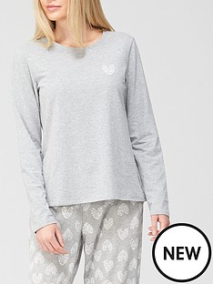 hunkemoller-long-sleeved-jersey-heart-pj-top-grey