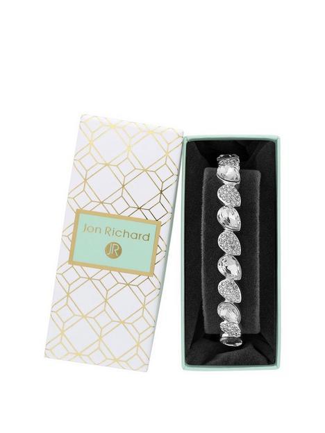 jon-richard-silver-plated-crystal-pear-stretch-bracelet