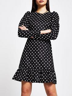 river-island-polka-dot-puff-sleeve-mini-dress-black