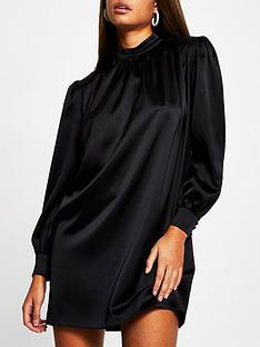 river-island-high-neck-satin-shift-dress-black