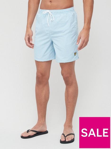 lyle-scott-gingham-swim-short-blue
