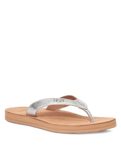 ugg-tawney-logo-flip-flop-silver