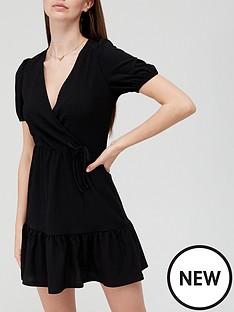 v-by-very-wrap-mini-dress-black