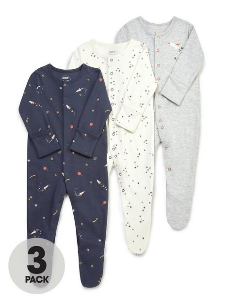 mamas-papas-baby-boys-3-pack-space-sleepsuits-navy