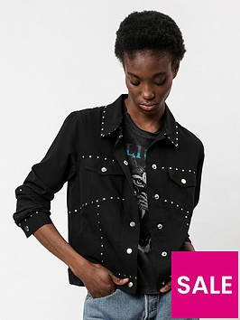 religion-sheen-studded-denim-jacket-black