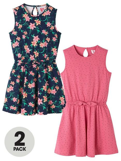 v-by-very-girls-2-pack-jersey-spot-and-floral-dresses-multi