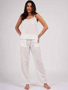 loungeable-cotton-seersucker-cami-amp-pant-pj-set-white