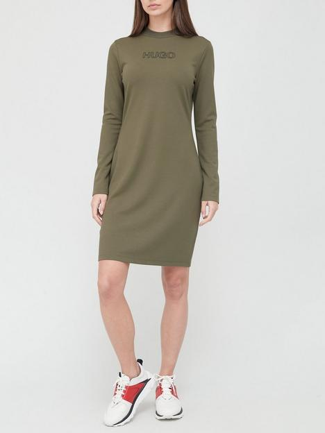 hugo-dassy-long-sleeved-jersey-dress-khaki