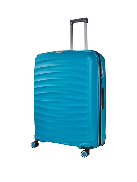 rock-luggage-sunwave-large-8-wheel-suitcase-blue